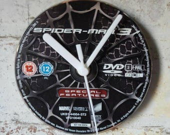 Spiderman 3 DVD Clock unique gift - upcycled (venom cover)