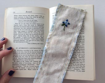 Hand embroidered bookmark blue violet design