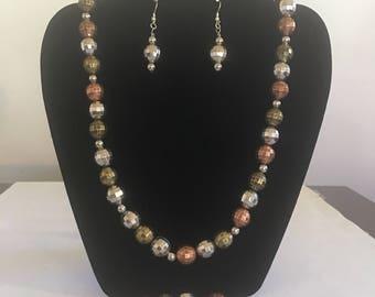 Multi colored necklace bracelet earrings set