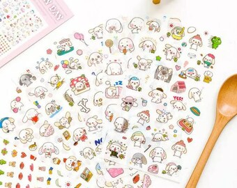 6 sheets stickers bunnies super kawaii!