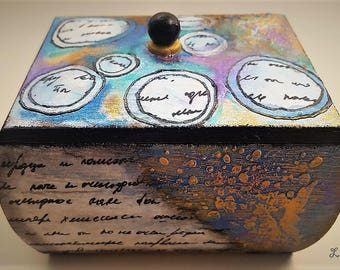Decorated wooden box, decoupage, hand painted, polymer clay tiles
