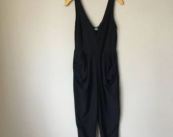 90s Romper Black With Pockets Medium