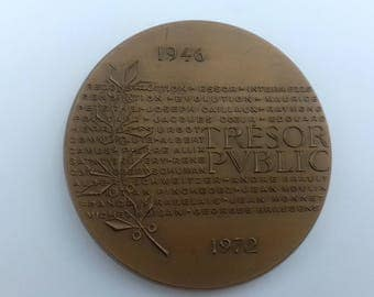 "Medal ""School national des Services of the Treasury"" 1973 bronze engraved by D. pumice"