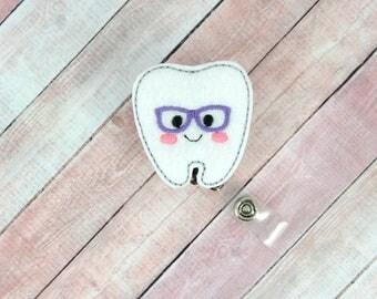 Geeky Tooth Badge Reel - Geeky Tooth - Feltie Badge Reel- Retractable ID Badge Holder - Badge Pull.