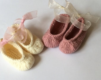 Knit Baby ballet slippers knit baby booties