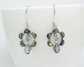 925 sterling silver earring, amethyst earring, paua shell earring, natural paua shell earrings, mother of pearl earrings
