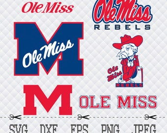 Ole Miss Rebels Logo SVG DXF EPS Png Cut Vector File Silhouette Cameo Cricut Design Vinyl Decal Template Stencill Heat Transfer Iron Tshirt