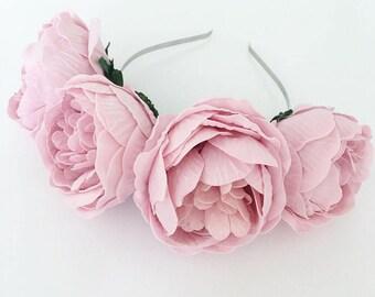 Vintage Pink Peony Flower Headband. Boho Flower Crown. Festival Flower Crown. Peonies.