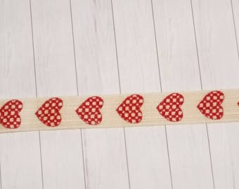 Ribbon, beige- red, Heart, 15mm, 100% Cotton