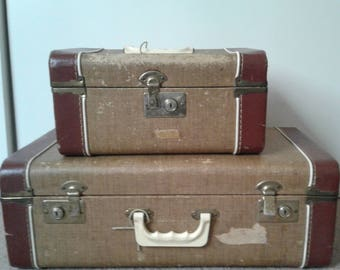 Vintage brown 1960 suit Case set