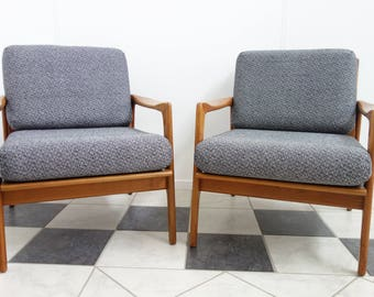 Pair of 60's  Beech wood chairs reupholstered in grey