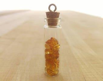 Citrine gemstones in glass jar pendant, Glass jar filled with faceted Citrine, November birthstone pendant