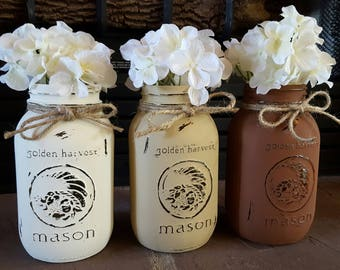 Set of 3 painted mason jars. Home decor. Farmhouse decor. Painted mason jars. Mason jar decor.