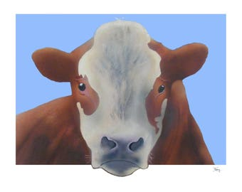 Custom Art.  Original portrait of a bull.  Acrylic painting on canvas panel.  14 x 18 inch