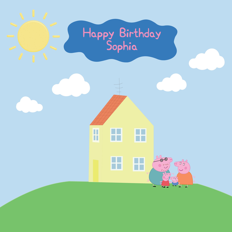 Printed Custom Peppa Pig Birthday Party Backdrop Peppa Pig