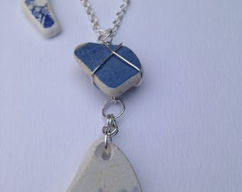 Blue seapottery necklace