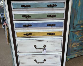 5 drawer dresser, multi-colored, white, yellow, blue, sage green, teal