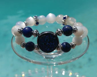 Bracelet summer Duo white and blue stones!