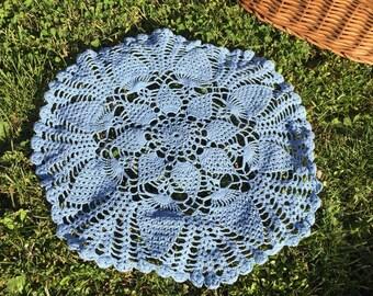 Blue doily crochet round