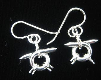 "Sterling Silver ""barbed wire"" earrings"
