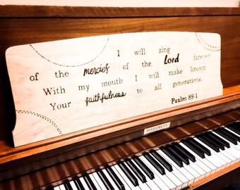 Custom Woodburned Music Rest for a Piano- music lover, pianist, piano teacher, piano keys, music teacher, music teacher gift,