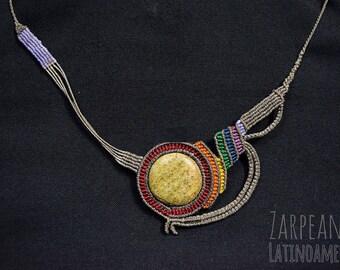Macrame and Jade stone necklace