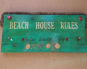 Hand painted Beach House Rules Sign
