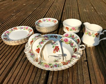 Vintage Royal Stafford Fine Bone China Tea Set for Five