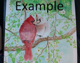 Custom Bird in Tree Painting