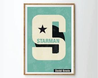 Ziggy stardust, starman, David Bowie,  art print, music print, music art, music poster, retro style art,