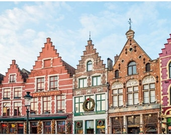 Bruges Markt Square Canvas Print, Colorful Medieval Architecture,  Belgium Photo, Europe Photography, Large Wall Decor