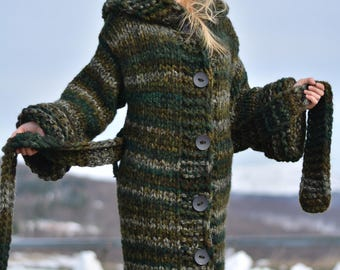 ORDER handmade wool coat hand knitted cardigan chunky wool jacket long hooded cardigan warm with belt and loops Dukyana