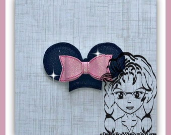 Mini Dbl Mouse Ear SET w 3d Bow ~ ITH Mr Miss Mouse Ears Headband ~ INSTaNT Machine Embroidery Download Design by Carrie