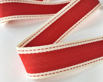"""Striped Ribbon 1"""" Wide - 10 Yards Red with Ivory Border - Woven Fabric Ribbon with Stitched Edge 10 Yard Spool"""