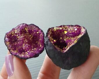 Moroccan Geode Quartz Crystal Pink Gold Metallic Geode Druzy Drusy Geode Cave Specimen Geode Cave, Dyed Geodes A