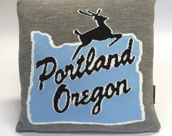 Portland Oregon Pillow - Knit Cushion - Stumptown, PDX, Home Sweet Home
