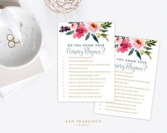 Nursery Rhyme Baby Shower Game - Nursery Rhyme Trivia - Watercolor Floral - Elise Collection -  INSTANT DOWNLOAD PDF file
