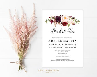 Bridal Tea Party Invitation INSTANT DOWNLOAD |  Editable Bridal Shower Invite Template | watercolor, red, marsala, burgundy | Holly | PDF