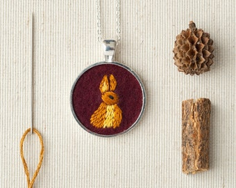 Bunny Rabbit Necklace Embroidered Felt - Circle pendant - Woodland animal - Silver Plated - Burgundy