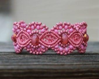 Micro-Macrame Beaded Cuff Bracelet - Bubblegum