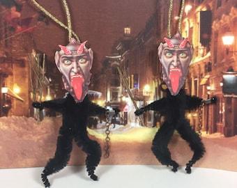 Black Krampus Ornament - Vintage Style - Chenille Christmas Ornament - Weird Ornament - Christmas Devil - Feather Tree - Art Ornament