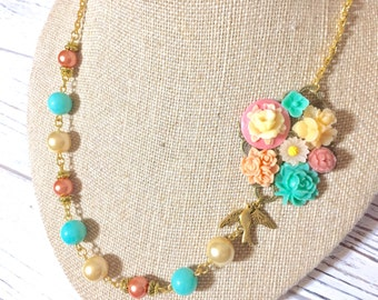 Floral Assemblage Necklace, Asymmetrical Necklace, Pastel Flower Necklace, Pearl Necklace, Statement Necklace, KreatedbyKelly