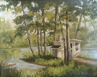 Larry's Sauna in the Wild,landscape,oils on canvas, Barbara Haviland, Texas Contemporary Artist