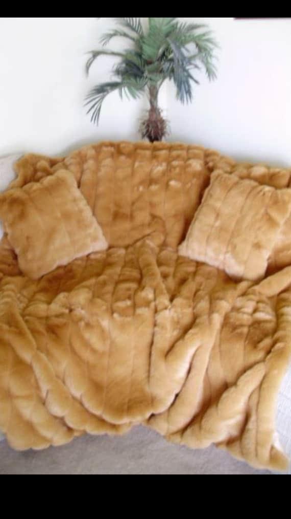 Mink Faux fur pillows, channeled faux mink, luxury faux fur mink pillow