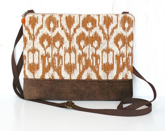 Crossbody Purse, Fabric Hip Purse, Zipper Cross Body Bag - Barcelona Ikat in Pumpkin Orange and Beige