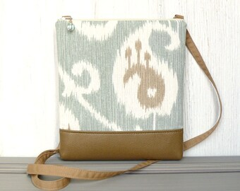 Cross Body Bag, Fabric Hip Purse, Small Zipper Crossbody Pouch - Ikat Paisley in Dusty Aqua, Cream and Tan