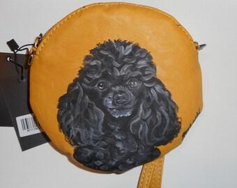 Black Toy  Poodle Dog hand Painted Ladies  Wristlet Bag Rose Handbag