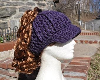 Purple Ponytail Hat with Brim - Messy Bun Hat - Crochet Hat - Purple Hat - Purple Pony tail hat