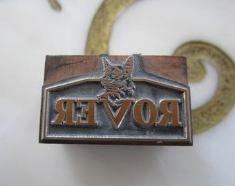 Rover Dog Logo Vintage Letterpress Printers Block