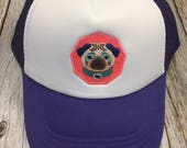 Girls Toddler/Kid Purple Trucker Hat with Adorable &quo...